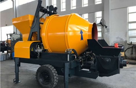 Small mobile concrete pumps with mixer for sale